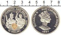 Изображение Монеты Карибы 10 долларов 1997 Серебро Proof 50 лет свадьбы Елиза