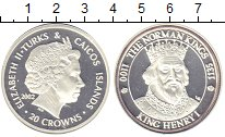 Изображение Монеты Теркc и Кайкос 20 крон 2002 Серебро UNC-