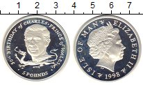 Изображение Монеты Остров Мэн 5 фунтов 1998 Серебро Proof- Елизавета II. 50-лет