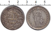 Изображение Монеты Швейцария 2 франка 1945 Серебро VF