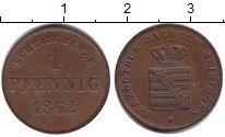 Изображение Монеты Саксен-Майнинген 1 пфенниг 1862 Медь XF