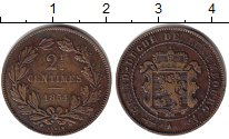 Изображение Монеты Люксембург 2 1/2 сентима 1854 Медь VF