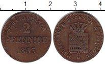 Изображение Монеты Саксен-Майнинген 2 пфеннига 1863 Медь VF