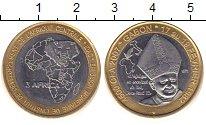 Изображение Монеты Габон 4500 франков 2007 Биметалл XF Голова слона на фоне