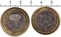 Изображение Монеты Бенин 6000 франков 2005 Биметалл VF Голова слона на фоне