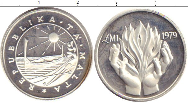 Картинка Монеты Мальта 1 фунт Серебро 1979