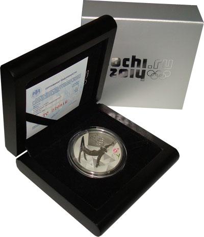 Изображение Подарочные монеты Россия Олимпийские игры в Сочи 2014, Фристайл 2014 Серебро Proof- Подарочная монета по