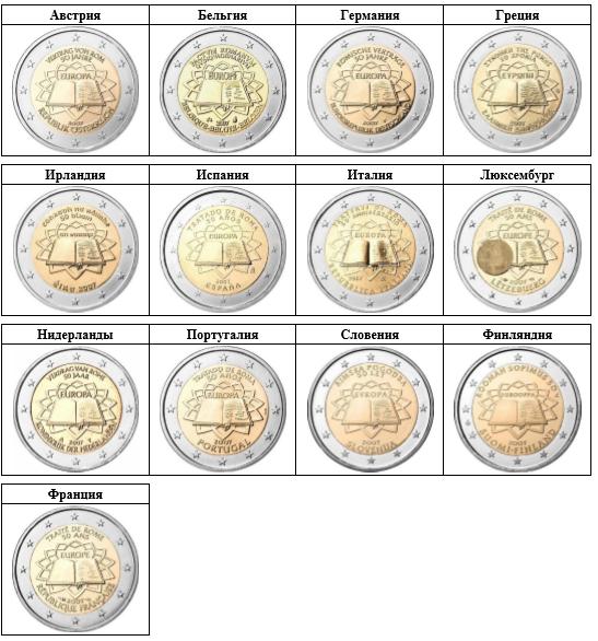 Монеты 2 евро Серия 50 лет со дня заключения Римского договора